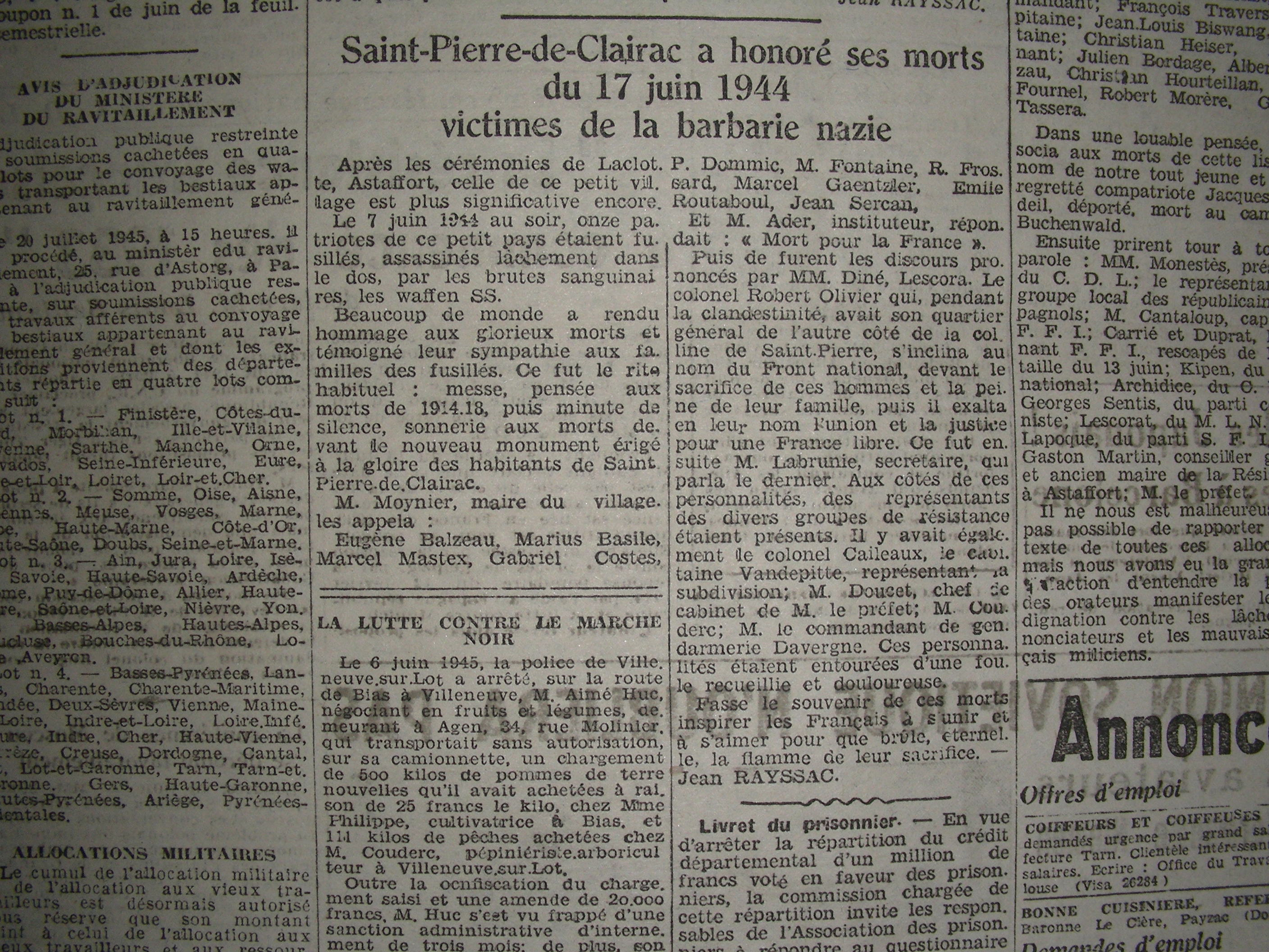 Journal LE PATRIOTE 19 juin 1945